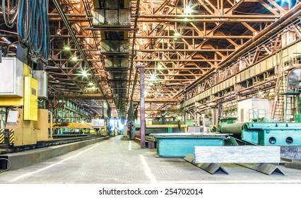 Machine shop of metallurgical works indoors room