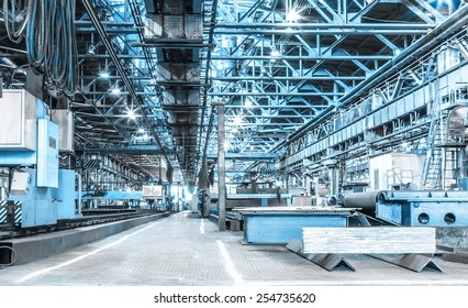 Machine shop of metallurgical works indoors room