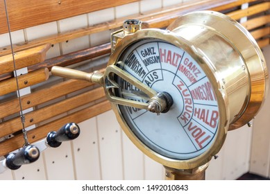 Machine telegraph on the bridge of an old steamboat