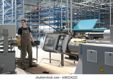 Machine tool and worker. Factory of metal products