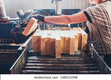 Machine for trimming and cutting spikes on a bar before gluing into a timber - sawmill - production of glued laminated timber