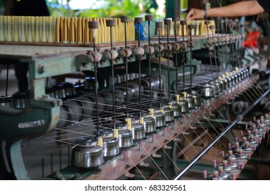 Machinery and equipment interior Silk of textiles factory can be use for fabric industry background.