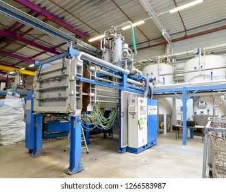 machines and interior in an industrial factory for the production of styrofoam components