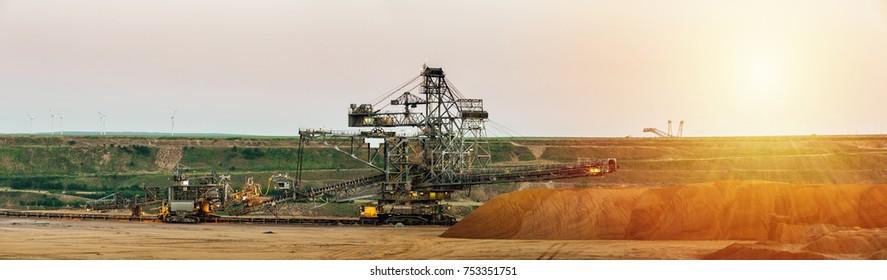 machines in open cast mine