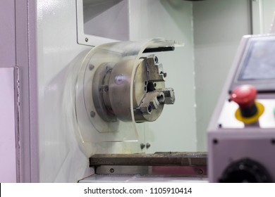 The machining safety guard and emergency stop button for lathe machine ; prevent accident