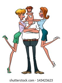 Macho man with girlfriends