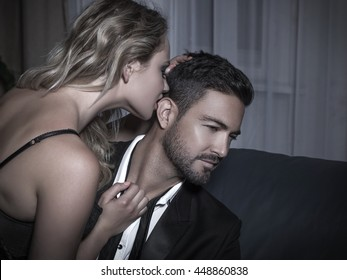 Macho man reject sexy young blonde woman at night