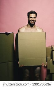 Macho with smiling face covers nudity. Man with beard stands on pink background. Guy with naked body holds box in front. Sexuality and moving concept.