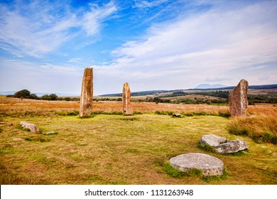 Machrie Moor 2 stone circle, a 4000 year old megalithic monument on the island of Arran, North Ayrshire, Scotland.