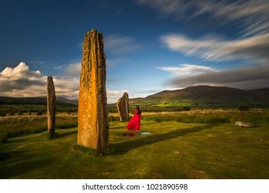Machrie Moor Stones in beautiful weather, Isle of Arran, Scotland