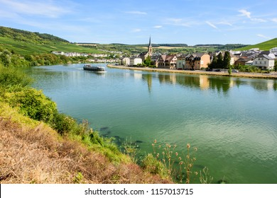 Machtum, Wormeldange, Luxembourg - August 12, 2018 - View from the Elbing Route, Germany across the Moselle River, to the village of Machtum, Luxembourg