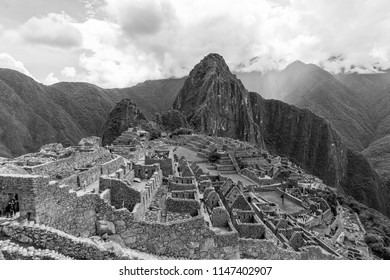 Machu Picchu in black and white after a storm