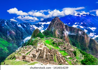Machu Picchu, Cusco, Peru: Overview of the lost inca city Machu Picchu, agriculture terraces and Wayna Picchu, peak in the background