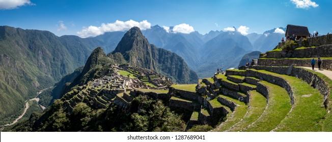 Machu Picchu full panoramic view (Peru, South America), a UNESCO World Heritage. Wonder of the world.