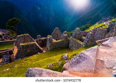 Machu Picchu and its houses: Ancient indigenous inca architecture in Peru, Cusco, South America