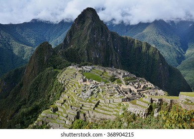 Machu Picchu  - the lost city of the Incas, Peru. View from Guardhouse. Mt Huayna Picchu (Waynapicchy) is at the background.
