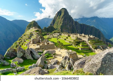 Machu Picchu, the most familiar icon of Inca civilization situated on a mountain ridge above the Sacred Valley northwest of Cuzco, Cusco Region, Peru.