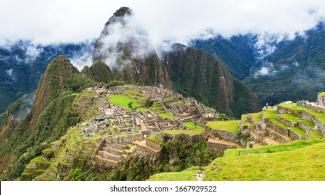 Machu Picchu, panoramic view of peruvian incan town, unesco world heritage site, sacred valley, Cusco region, Peru