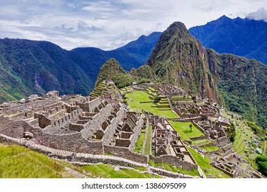 Machu Picchu, Peru - 2019.03.06. - A view over the Inca ruin site