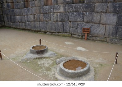 MACHU PICCHU / PERU, August 16, 2018: These water mirrors in Machu Picchu were believed to be used for astronomical investigations