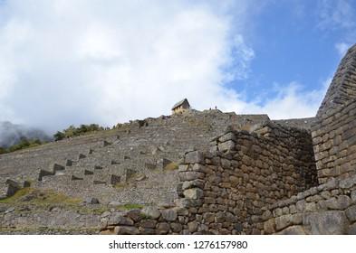MACHU PICCHU / PERU, August 16, 2018: View up the terraces in the Machu Picchu ruins