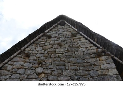 MACHU PICCHU / PERU, August 16, 2018: Side of building at Machu Picchu displays classic Inca architecture