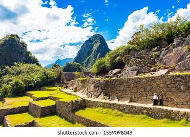MACHU PICCHU, PERU - JUNE 7, 2019: View of the ancient city