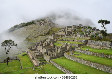 Machu Picchu, Peru, March 23, 2015: An overcast day at the ancient Incan ruins of Machu Picchu near Cusco, Peru. General travel imagery for Peru.