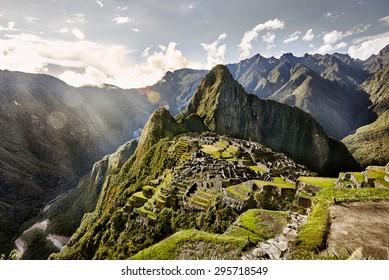 MACHU PICCHU, PERU - MAY 31, 2015: View of the ancient Inca City of Machu Picchu. The 15-th century Inca site.'Lost city of the Incas'. Ruins of the Machu Picchu sanctuary. UNESCO World Heritage site.