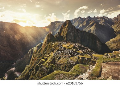 MACHU PICCHU, PERU - MAY 31, 2015: View of the ancient Inca City of Machu Picchu. The 15-th century Inca site.'Lost city of the Incas'. Ruins of the Machu Picchu sanctuary. UNESCO World Heritage site.