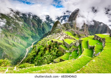 Machu Picchu, Peru - Ruins of Inca Empire city and Huaynapicchu Mountain, Sacred Valley, Cusco. Amazing place of South America.