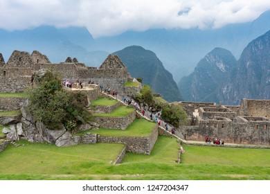 Machu Picchu, Peru - Sep 14, 2018: View of people visiting Machu Picchu in Peru