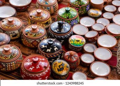 Machu Picchu, Peru - Sep 16, 2018: Ceramic pots and bowls for sale in a market near Machu Picchu in Peru