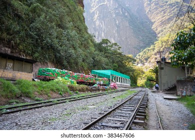 Machu Picchu, Peru - September 8, 2015: Train full of garbage ready to travel out of Machu Picchu, Peru. The railroad track connects Machu Picchu village to Hydroelectric Station.