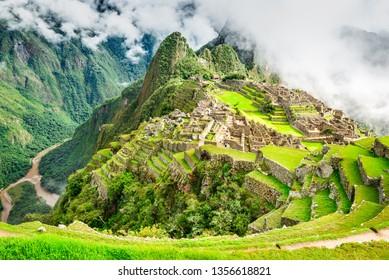 Machu Picchu, Peru, South America. Ruins of Inca Empire on Sacred Valley, Cusco, wonder of the world.