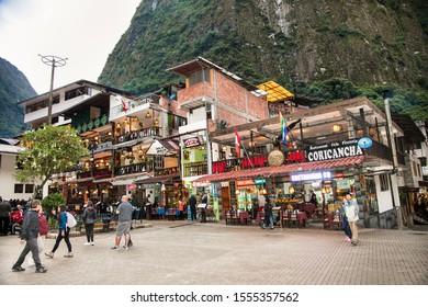 Machu Picchu Pueblo,  Peru - Jan 7, 2019: Central city square. Machu Picchu pueblo or Aguas Calientes town, Peru. South America.