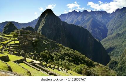 Machu Picchu ruin in the Andes Mountains, Peru