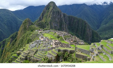 Machu Picchu ruins archaeological site and Wayna Picchu mountain in the background. Urubamba Province, Peru. One of the New Seven  Wonders of the World, Unesco heritage.