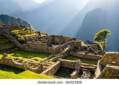 Machu Picchu ruins in the morning sun
