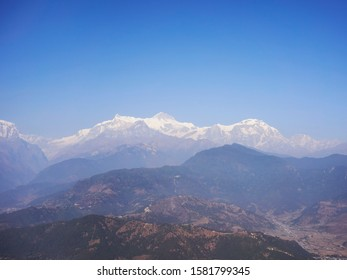 Machupuchare mountain range from Sarangkot tower view
