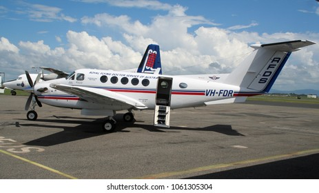 MACKAY, QUEENSLAND - APR 1, 2006: Beech B200 Super King Air medical plane from the Royal Flying Doctor Service on the tarmac of Mackay airport.
