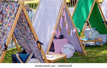 Mackay, Queensland, Australia - 20th July 2019: Street market stall hiring fun child teepee tents for birthday parties and sleepovers