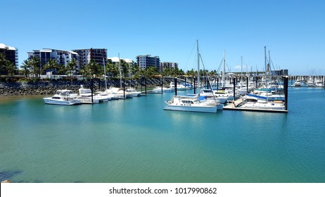 Mackay, Queensland, Australia - December 30, 2017 - Mackay Harbour with yachts and houses