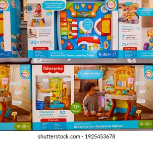 Mackay, Queensland, Australia - February 2021: Baby and small child play toys for sale in store