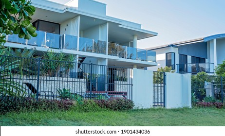 Mackay, Queensland, Australia - January 2021: Apartment living oceanfront lifestyle at the Marina