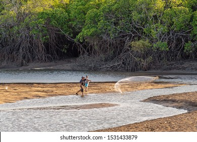 Mackay, Queensland, Australia - October 2019: A man and child casting a net in a creek at low tide to catch bait to go fishing against a mangrove backdrop