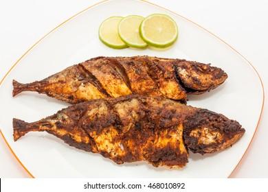 Mackerel fish fry in a plate. Prepared in Kerala style with hot and spicy