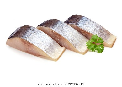 Mackerel fish with herbs isolated on white background