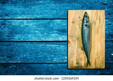Mackerel fish on the table