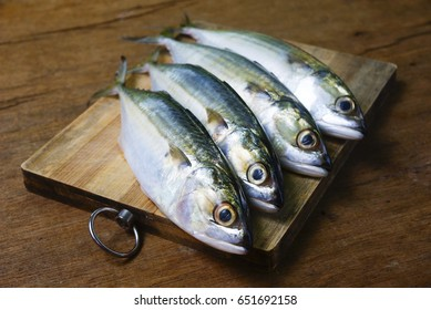 Mackerel Fish On Wooden Chopping Board With Dramatic Light And Vignette Effect